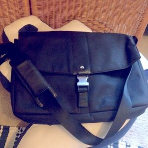 BMW black messenger laptop bag unisex VGC